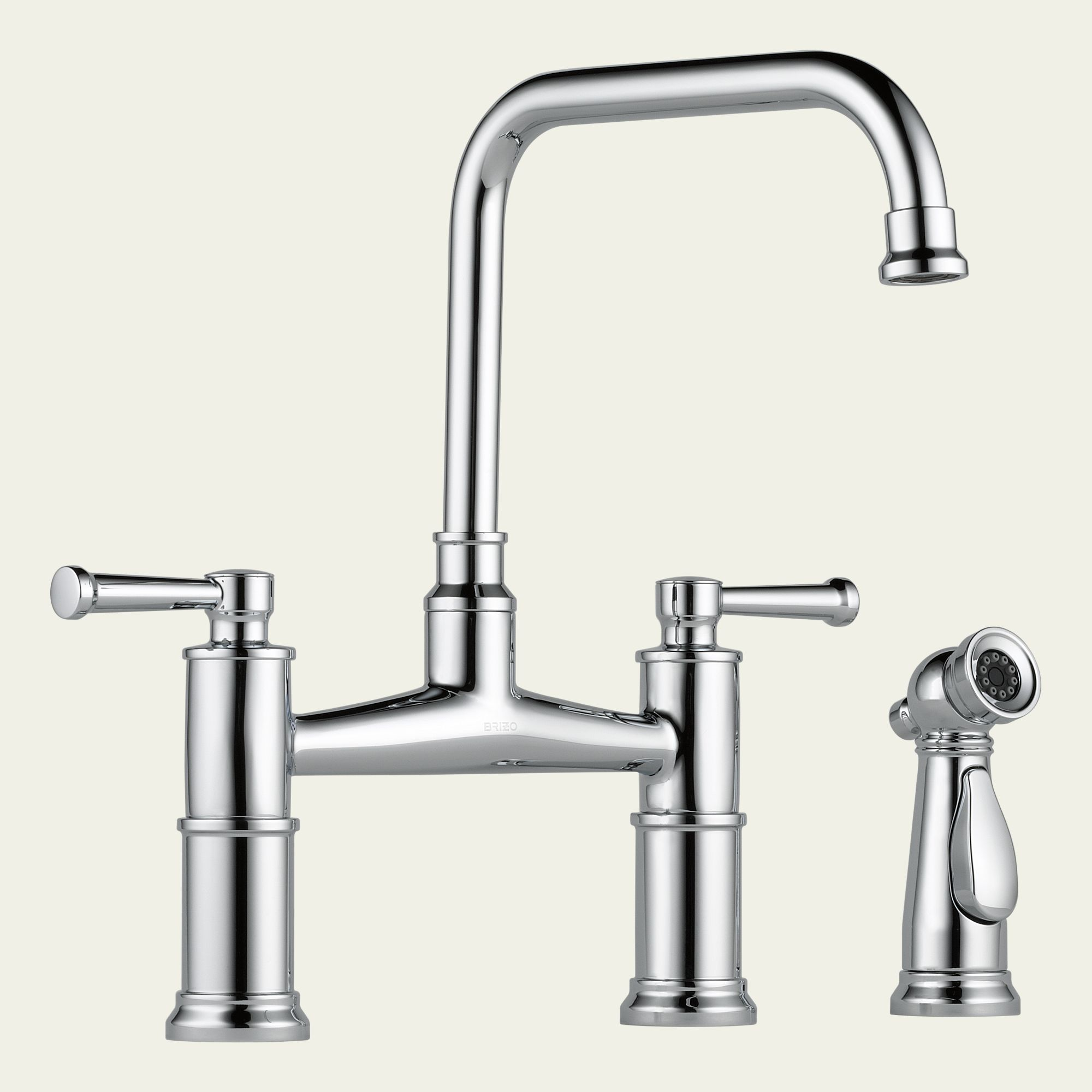 Bridge Kitchen Faucet: 62525LF Brizo Two Handle Bridge Kitchen Faucet With Spray