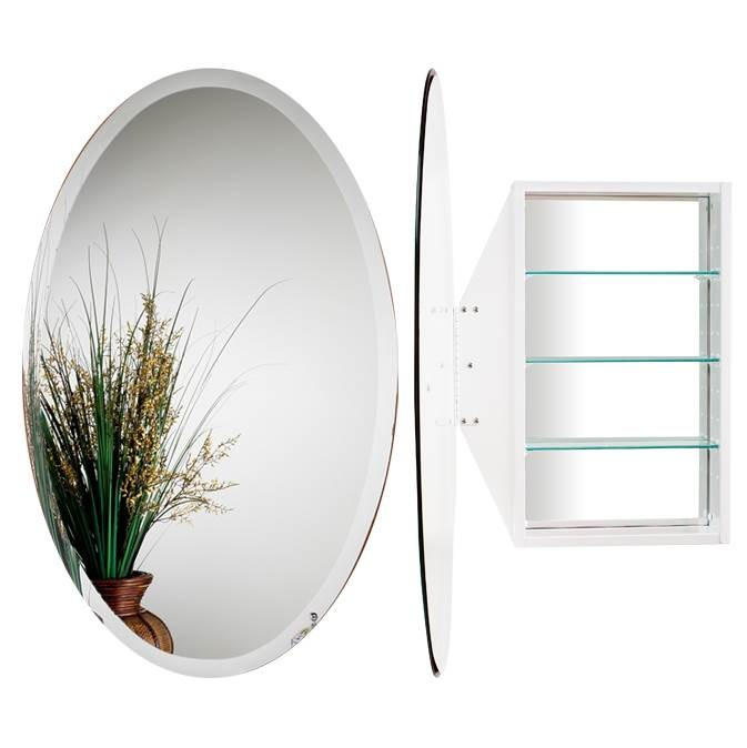 Alno MC4910-W Oval Mirror Cabinet - White