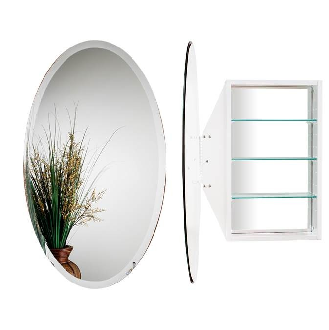 Alno MC4912-W Oval Mirror Cabinet - White
