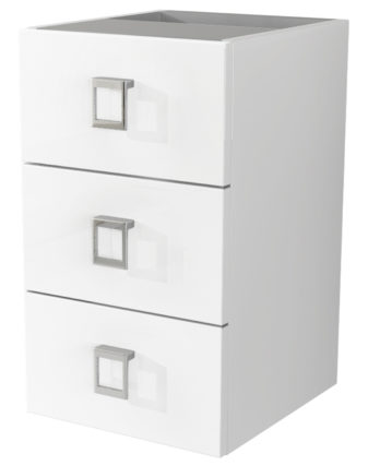 "Baden Haus 44402 11.8"" Florida Collection White Glossy Side Cabinet with 3 Drawers"