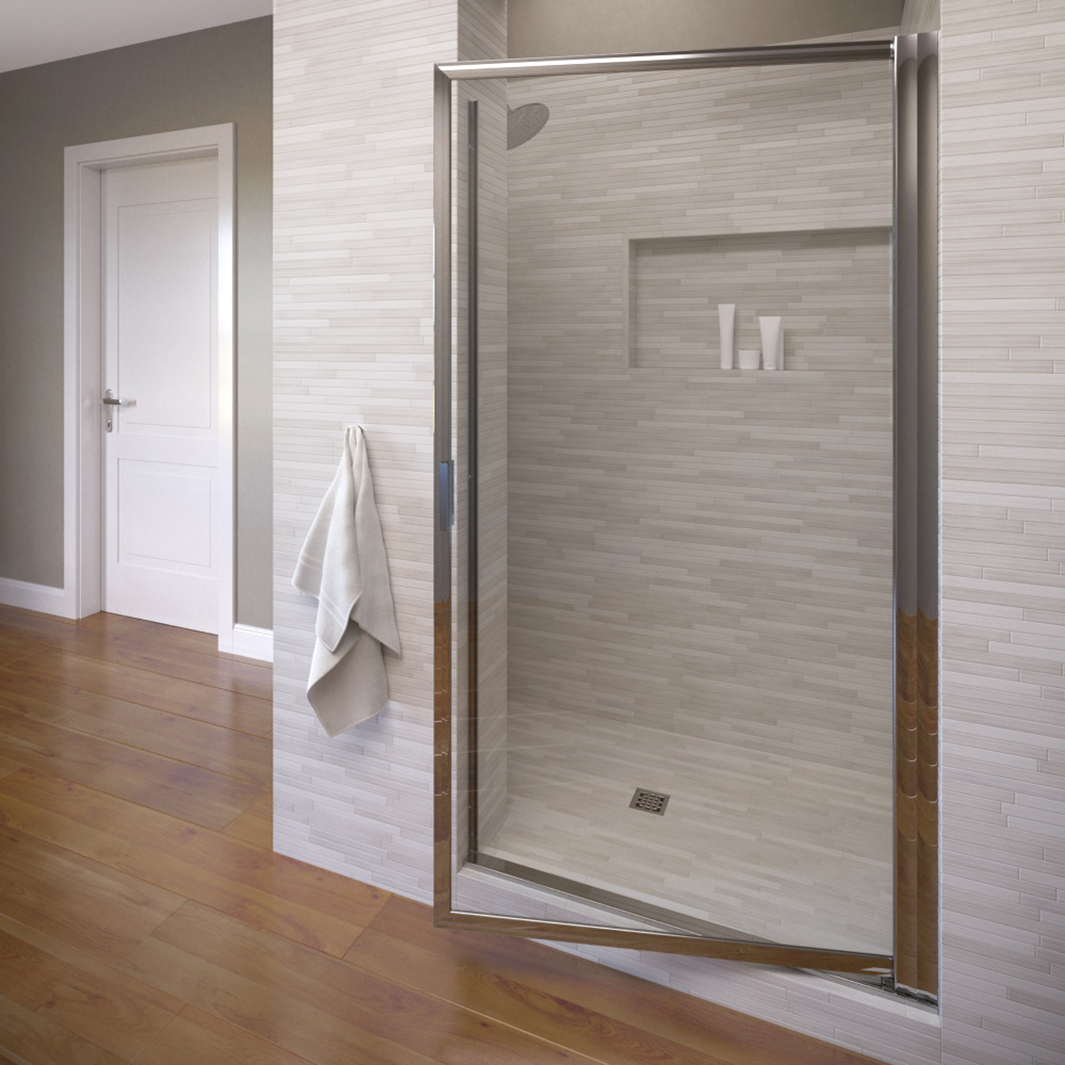 "Basco 100-10CL 36"" Deluxe Pivot Swing Door with Clear Glass - Silver"