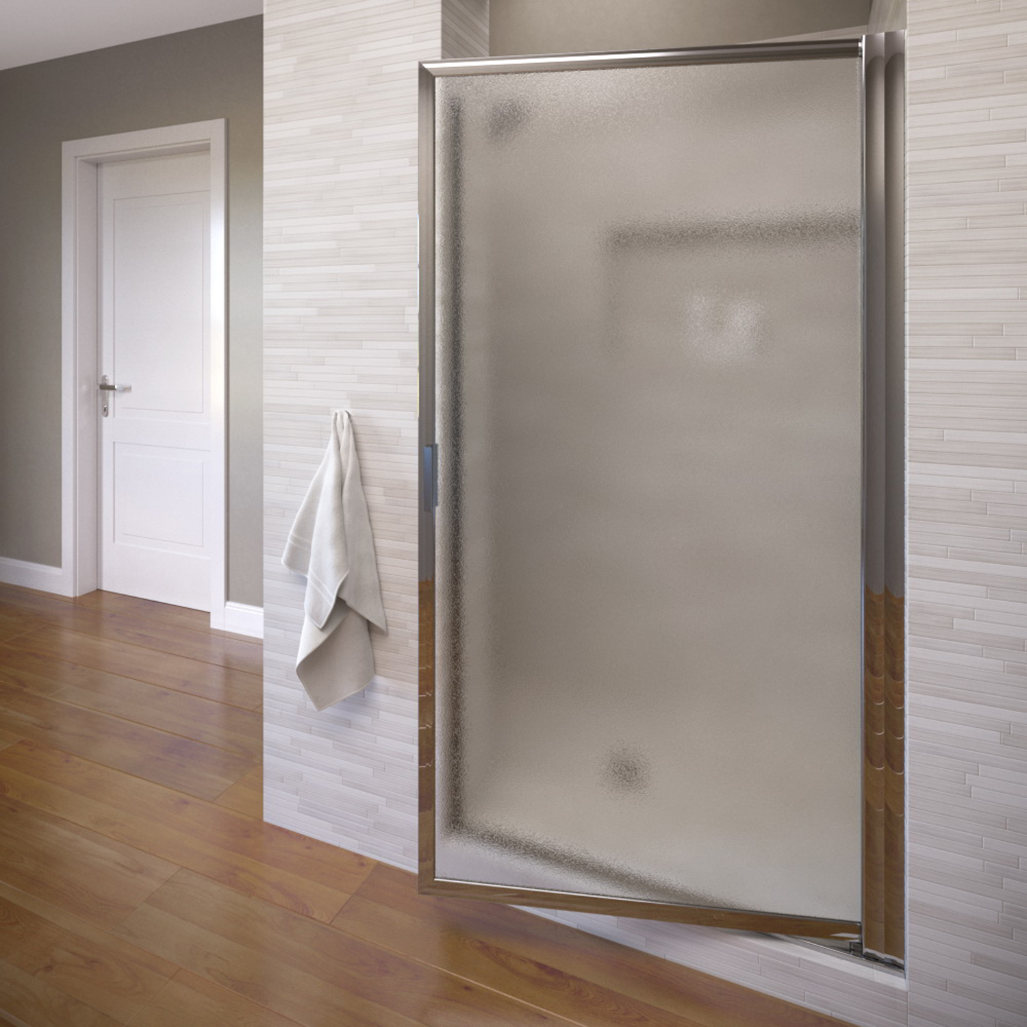 "Basco 100-2 24"" Deluxe Pivot Swing Door with Obscure Glass - Silver"