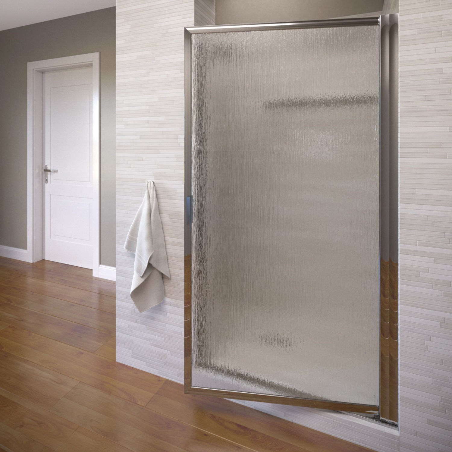 "Basco 100-10RN 36"" Deluxe Pivot Swing Door with Rain Glass - Silver"