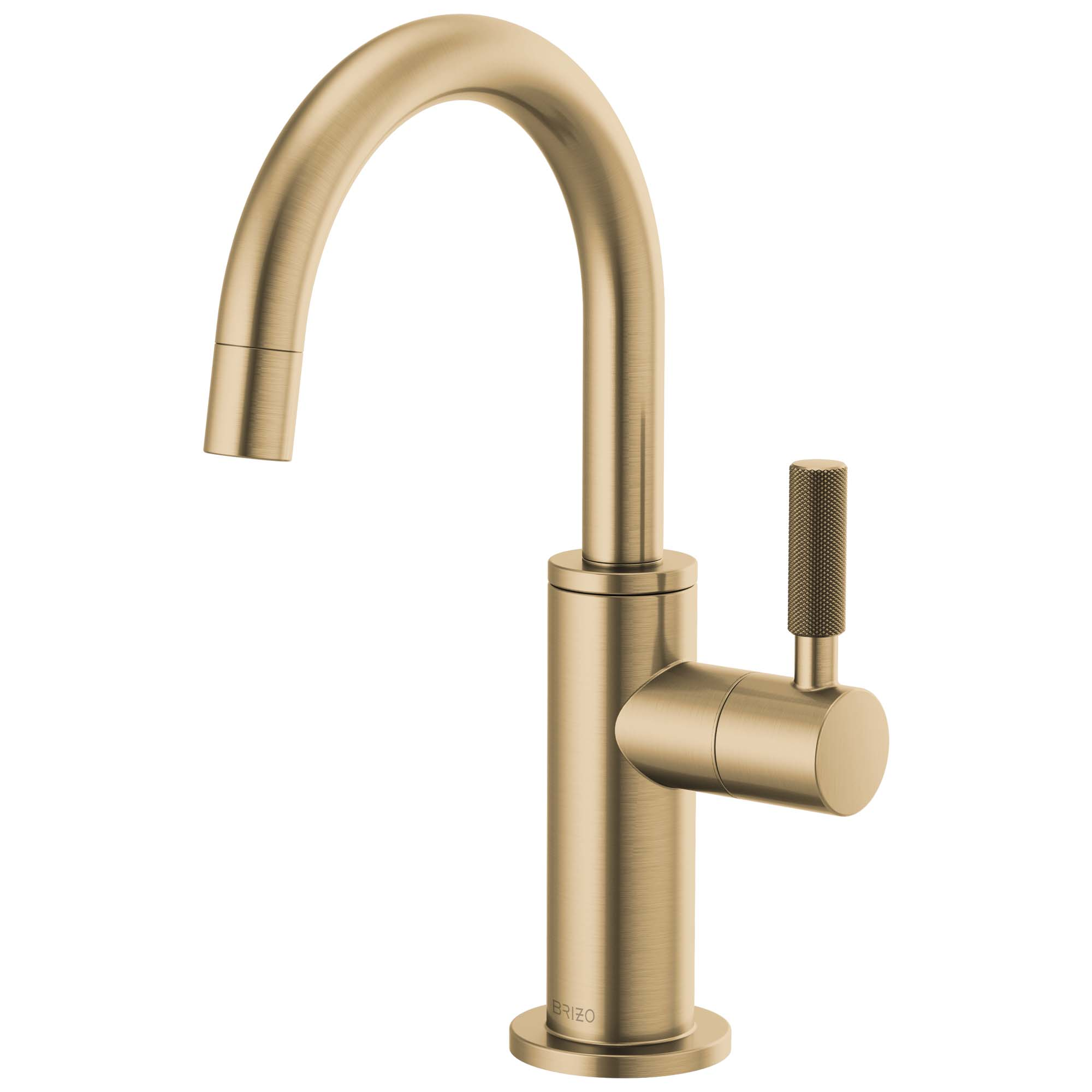 Brizo 61343LF-C-GL Litze Beverage Faucet with Arc Spout and Knurled Handle - Luxe Gold