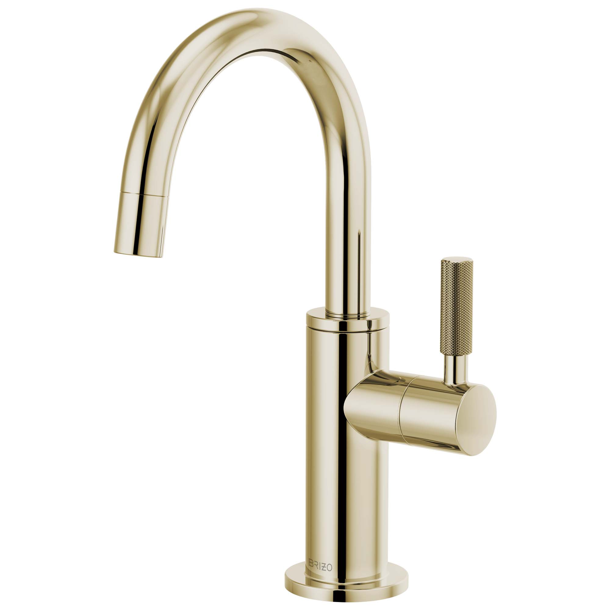 Brizo 61343LF-C-PN Litze Beverage Faucet with Arc Spout and Knurled Handle - Polished Nickel