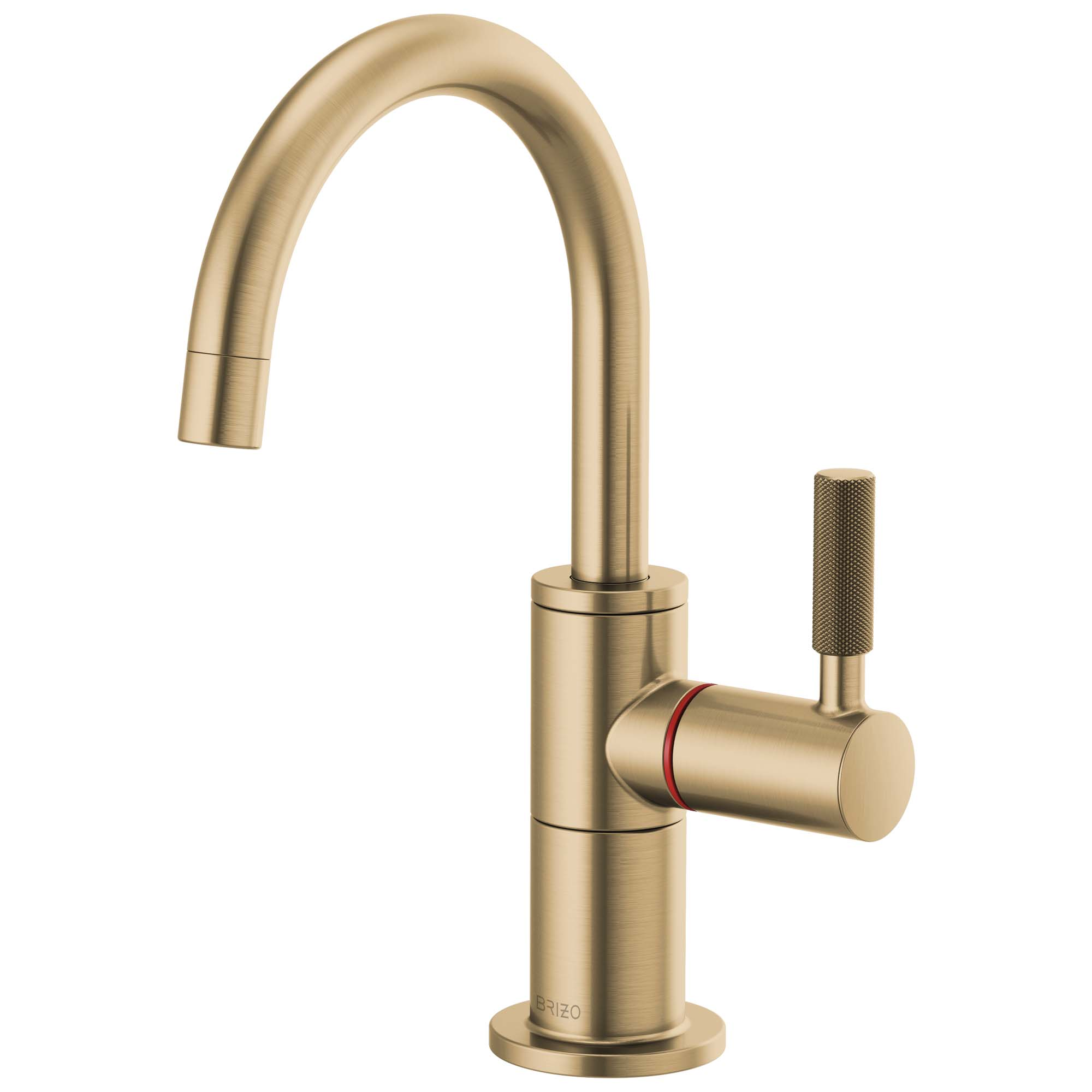 Brizo 61343LF-H-GL Litze Instant Hot Faucet with Arc Spout and Knurled Handle - Luxe Gold