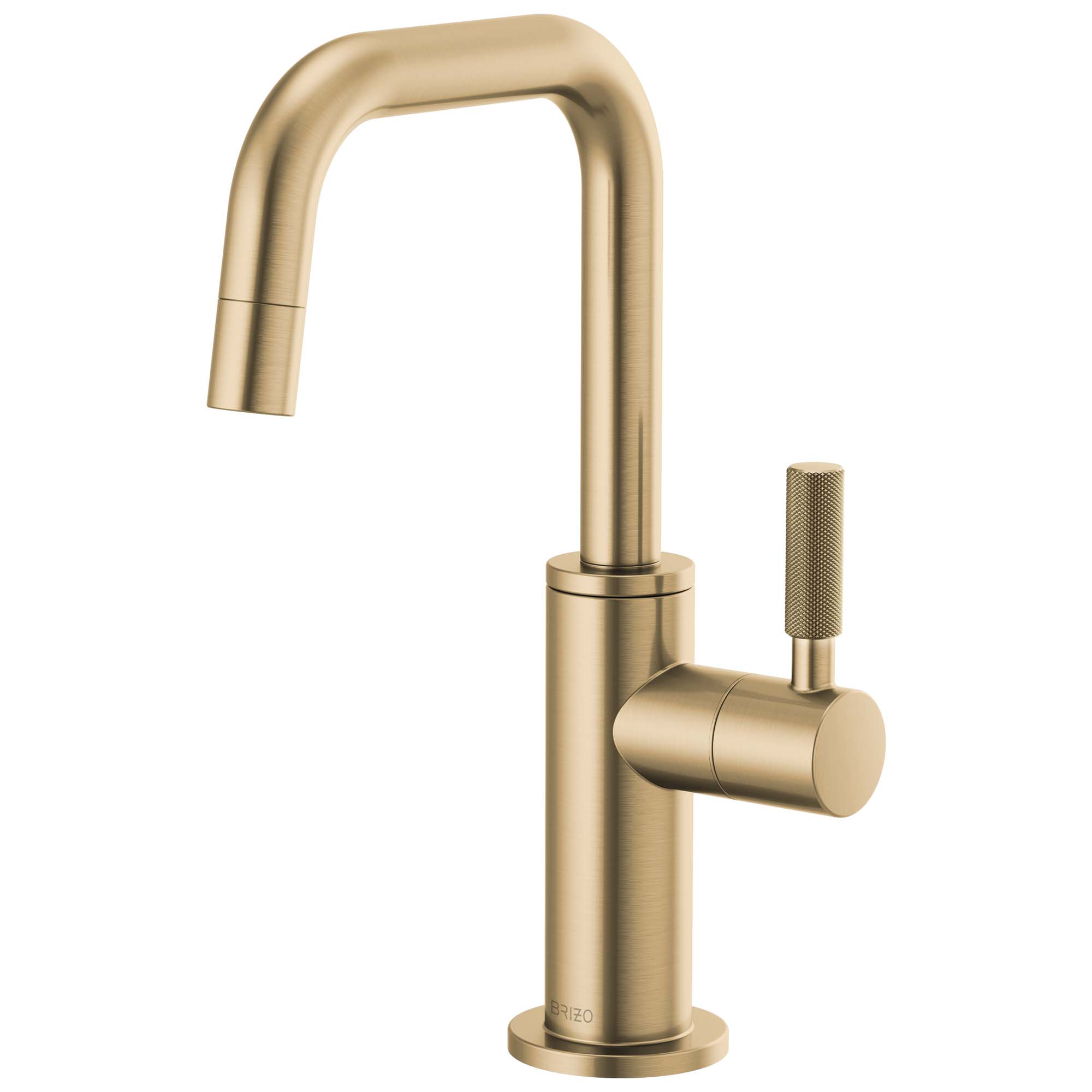 Brizo 61353LF-C-GL Litze Beverage Faucet with Square Spout and Knurled Handle - Luxe Gold