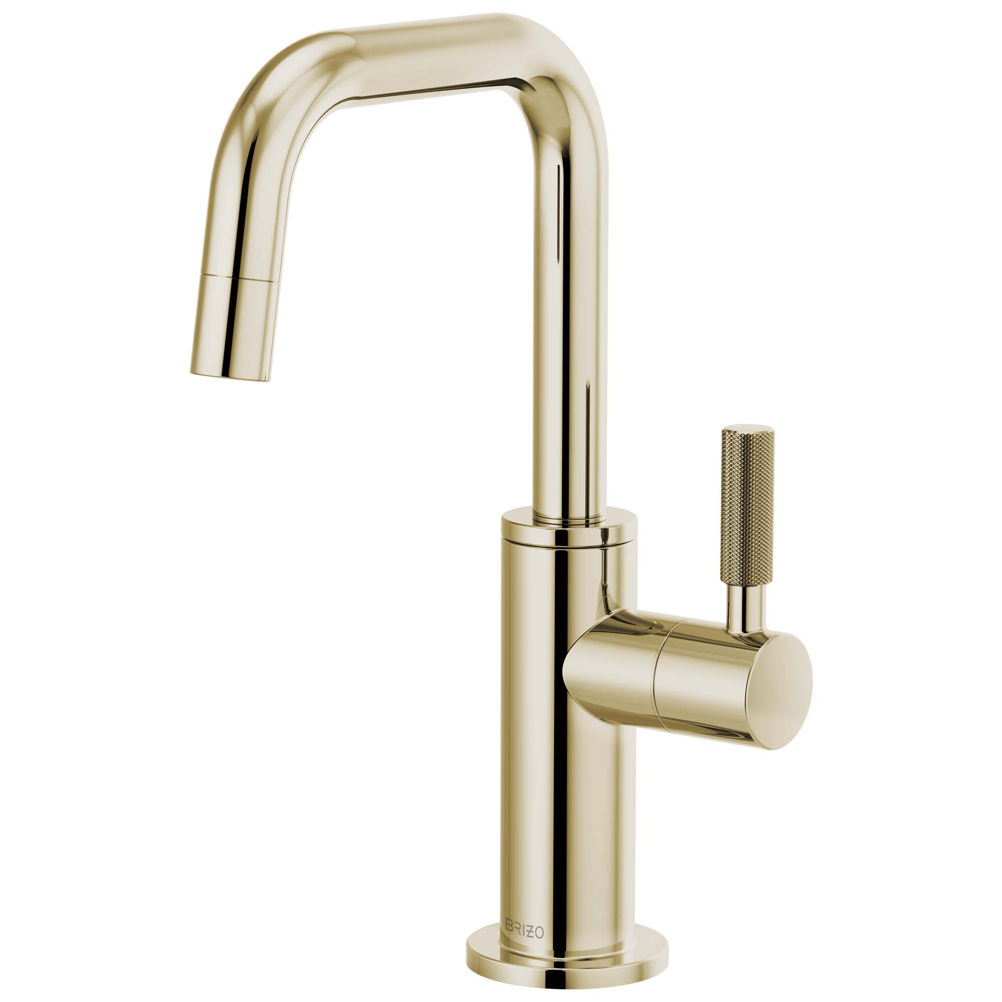 Brizo 61353LF-C-PN Litze Beverage Faucet with Square Spout and Knurled Handle - Polished Nickel