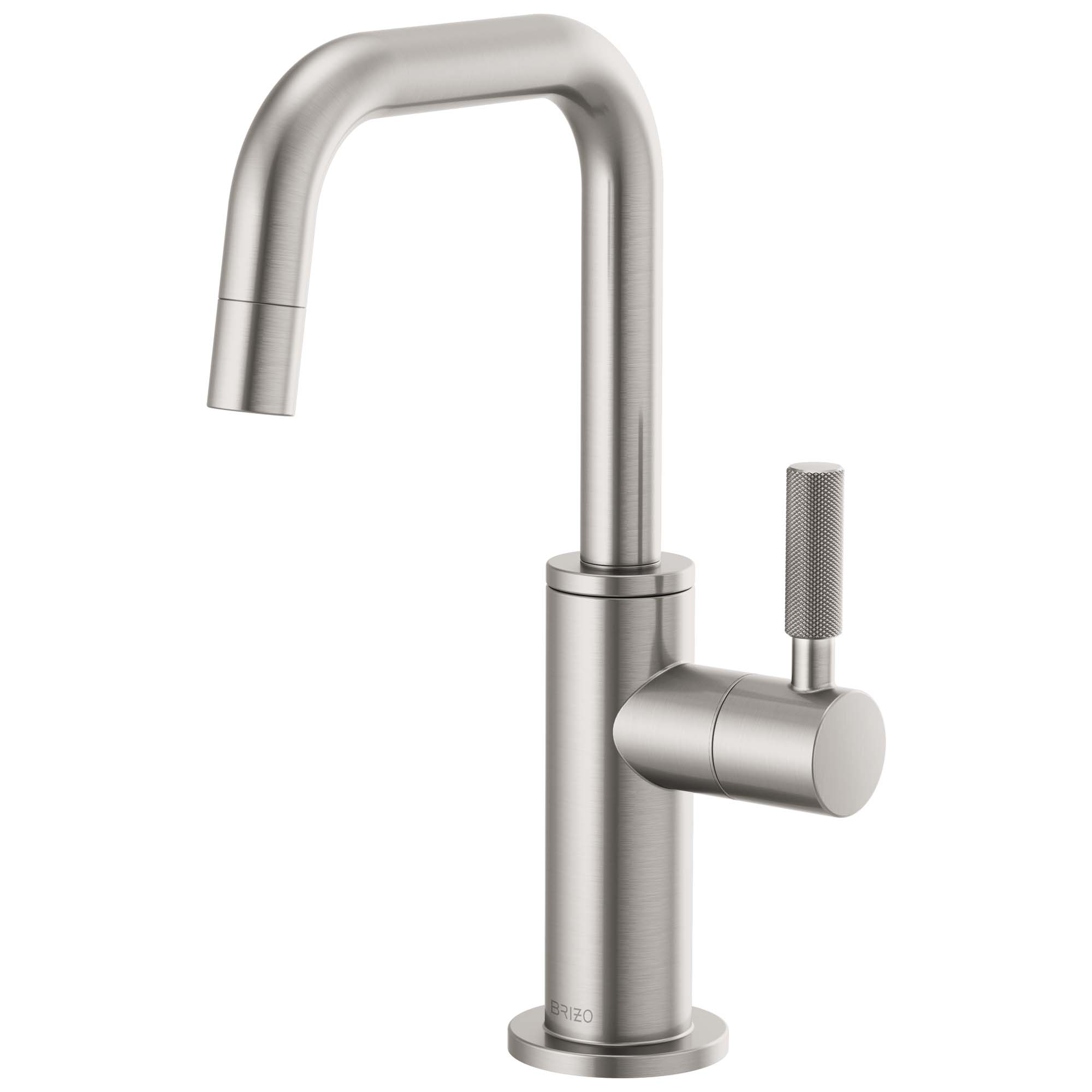 Brizo 61353LF-C-SS Litze Beverage Faucet with Square Spout and Knurled Handle - Stainless