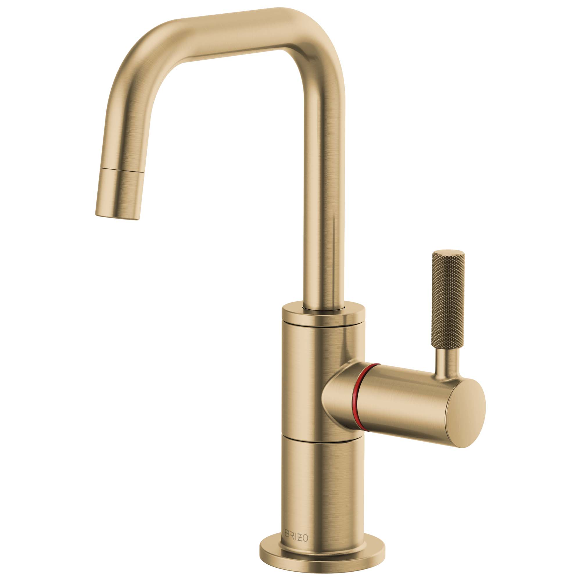 Brizo 61353LF-H-GL Litze Instant Hot Faucet with Square Spout and Knurled Handle - Luxe Gold