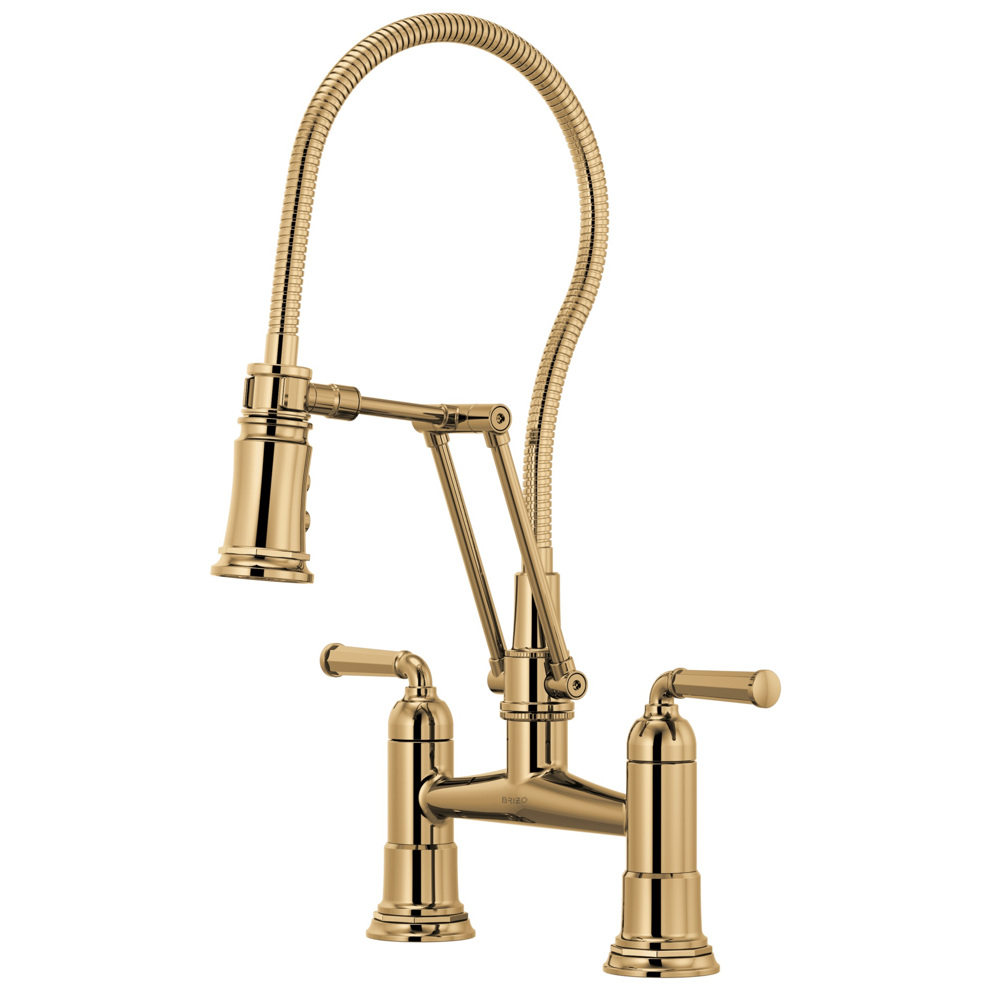 Brizo 62174LF-PG Rook Articulating Bridge Faucet with Finished Hose - Polished Gold