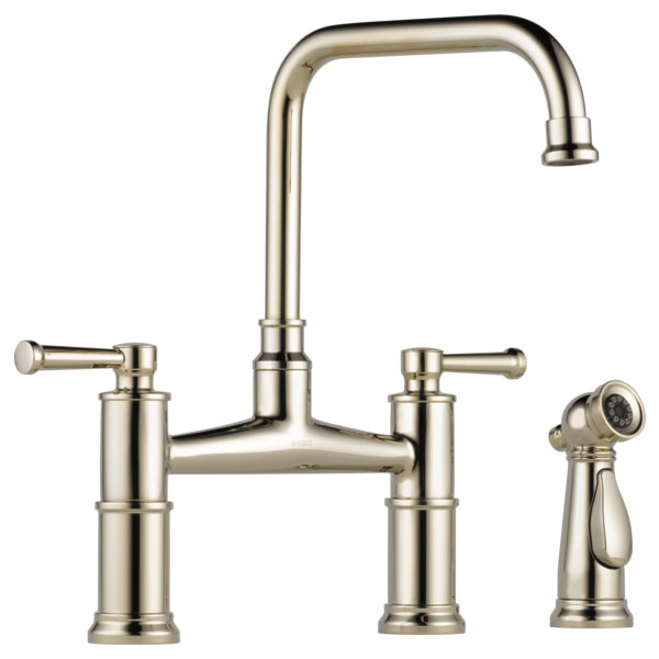 Brizo 62525LF-PN Artesso Bridge Faucet with Side Sprayer - Polished Nickel