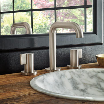 Brizo 65335LF-NKLHP-ECO Litze Widespread Lavatory Faucet with Less Handles - Luxe Nickel