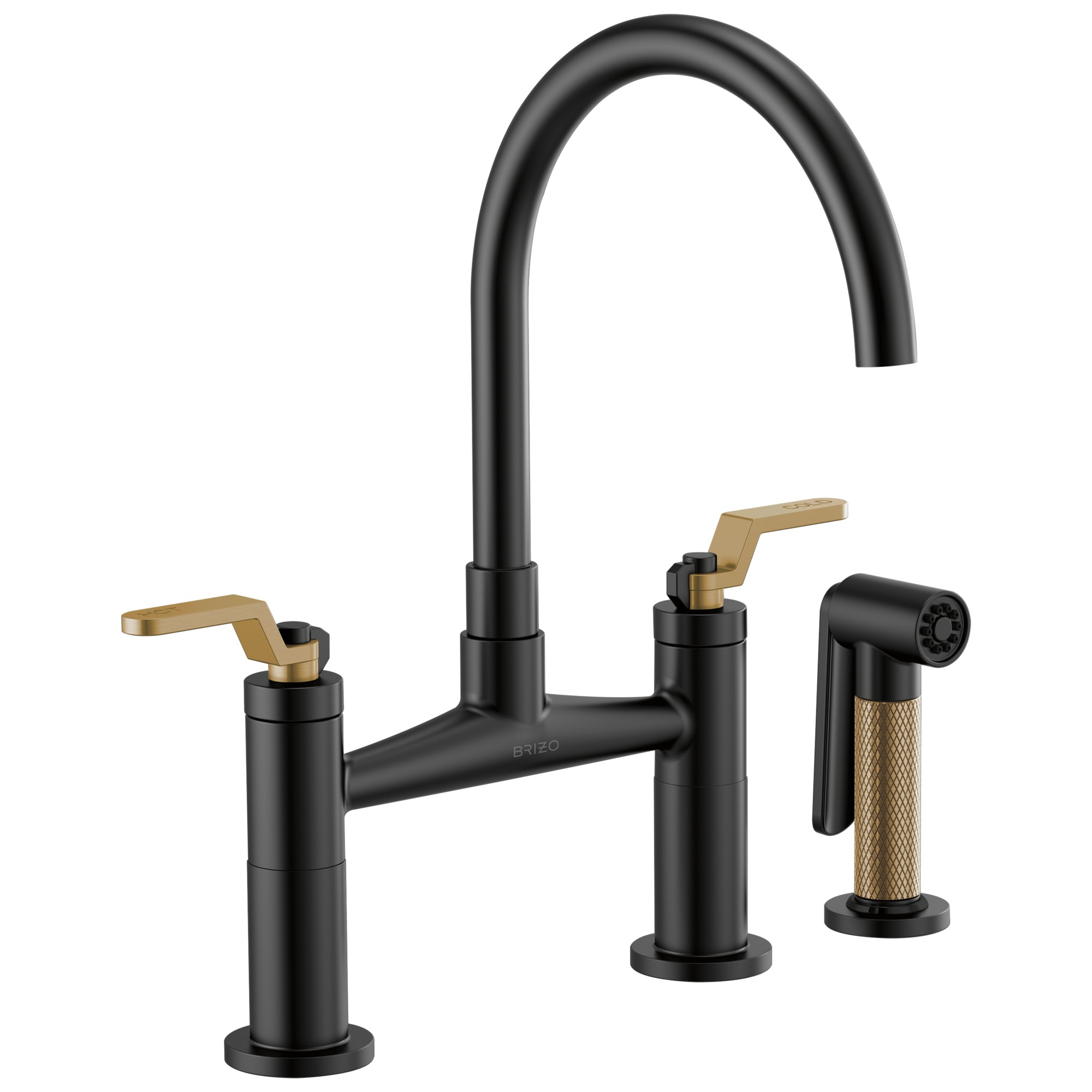 Brizo 62544LF-BLGL Litze Bridge Faucet with Arc Spout and Industrial Handle - Matte Black / Luxe Gold