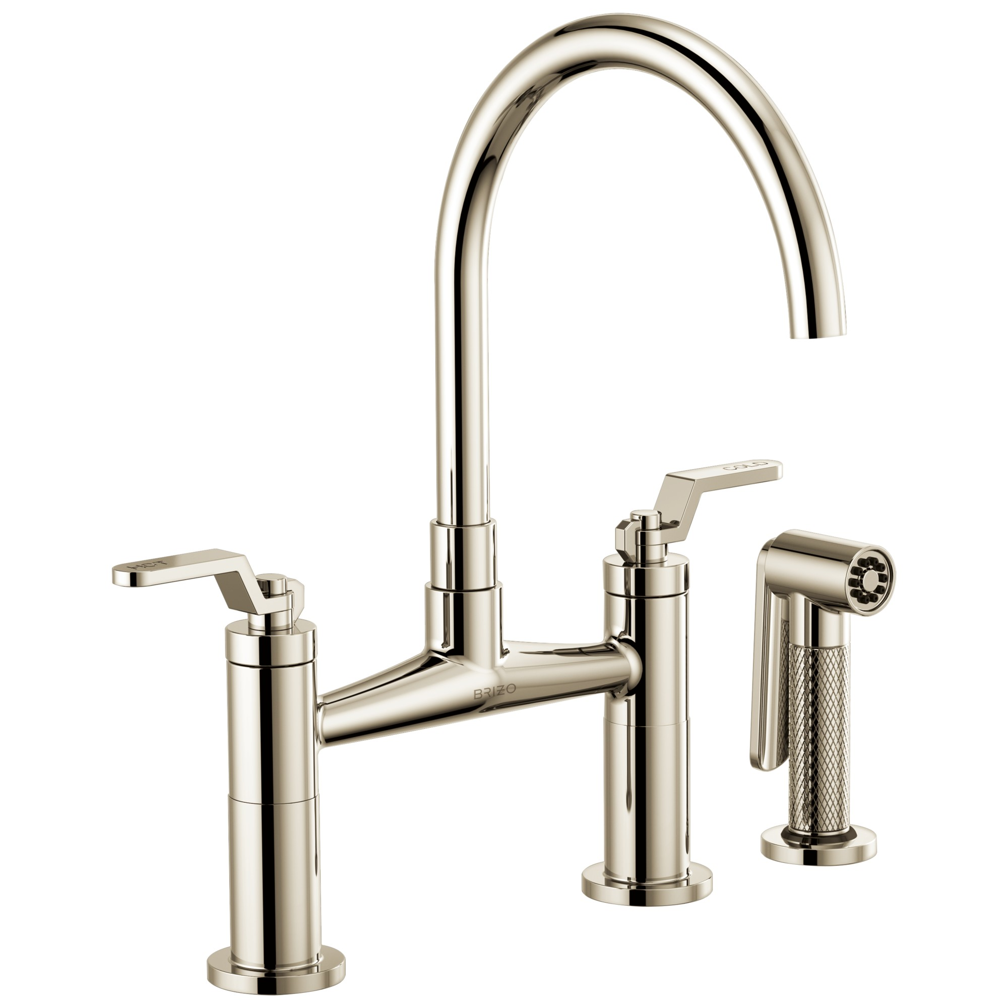 Brizo 62544LF-PN Litze Bridge Faucet with Arc Spout and Industrial Handle - Polished Nickel