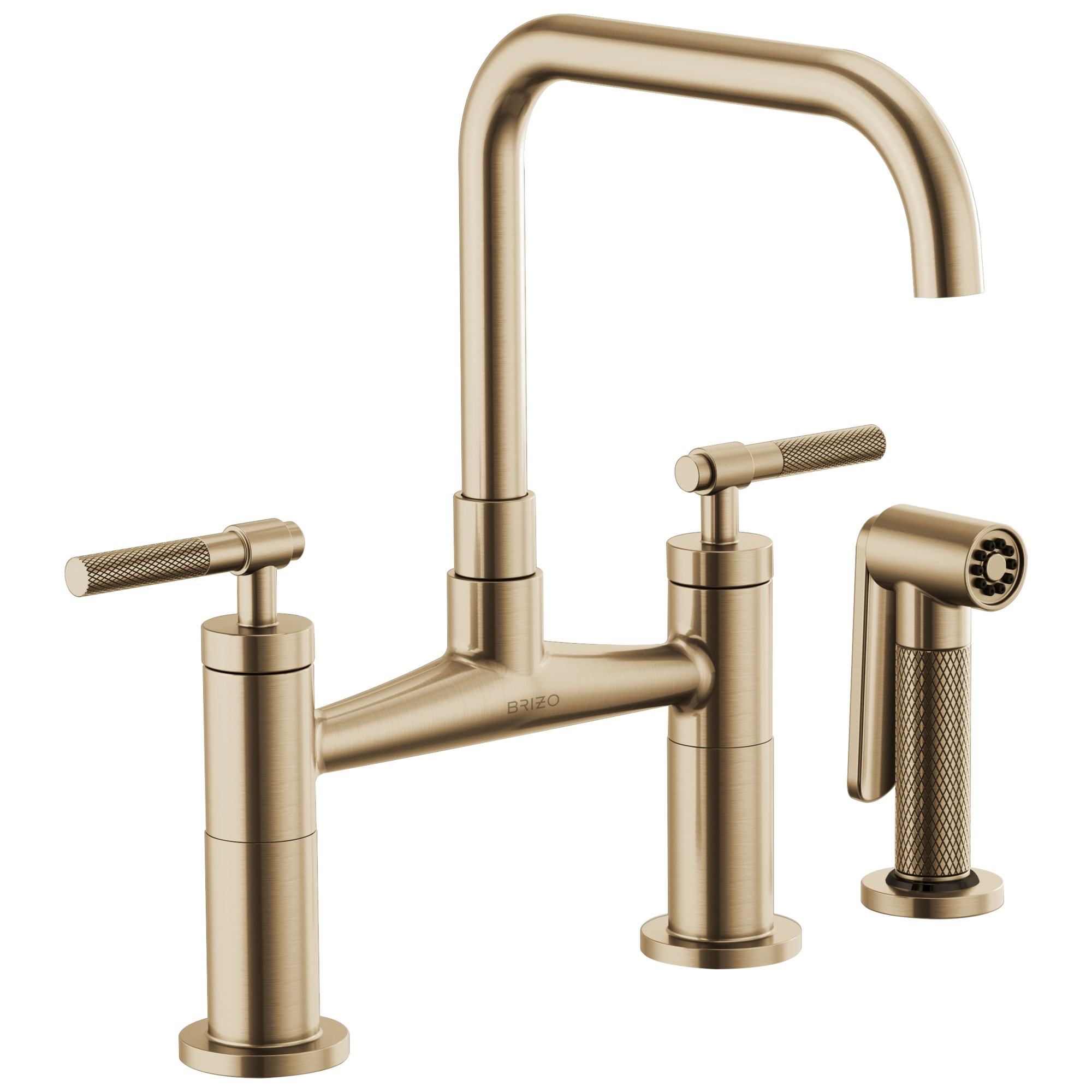 Brizo 62553LF-GL Litze Bridge Faucet with Square Spout and Knurled Handle - Luxe Gold