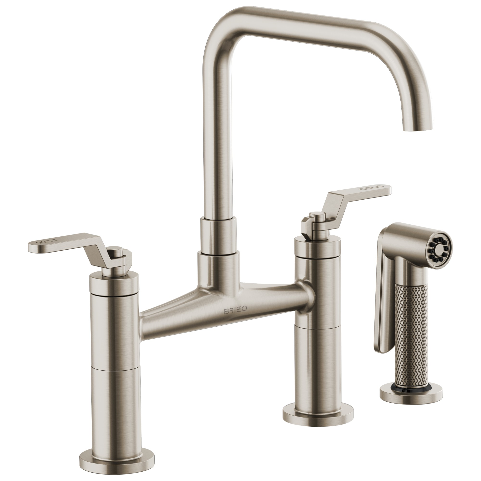 Brizo 62554LF-SS Litze Bridge Faucet with Square Spout and Industrial Handle - Stainless