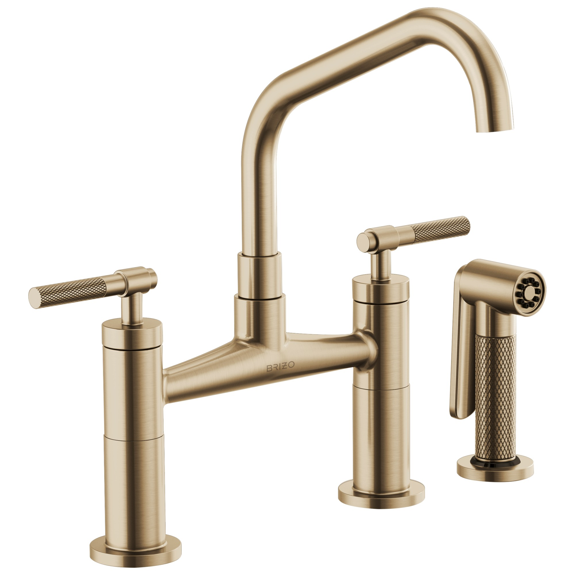 Brizo 62563LF-GL Litze Bridge Faucet with Angled Spout and Knurled Handle - Luxe Gold