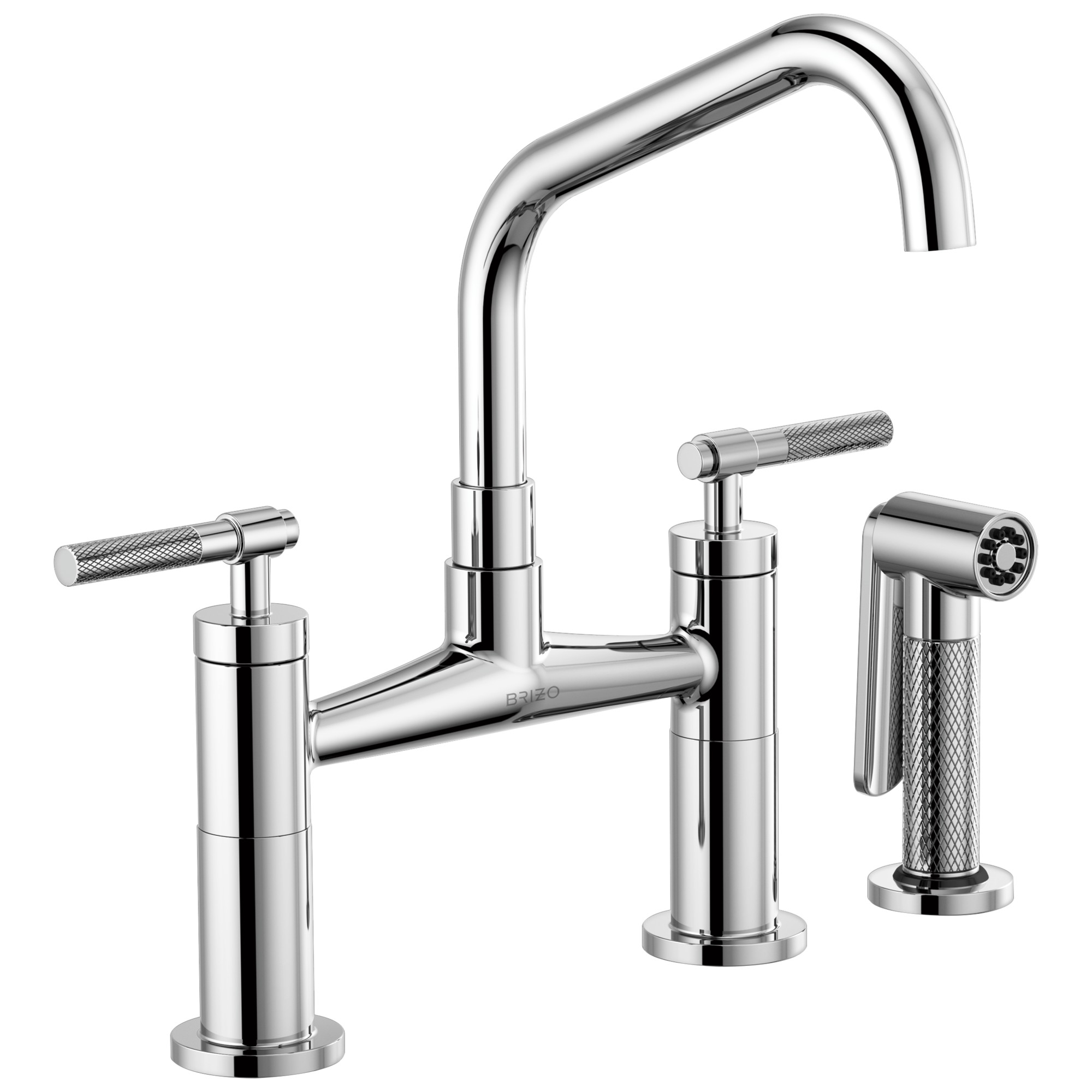Brizo 62563LF-PC Litze Bridge Faucet with Angled Spout and Knurled Handle - Chrome