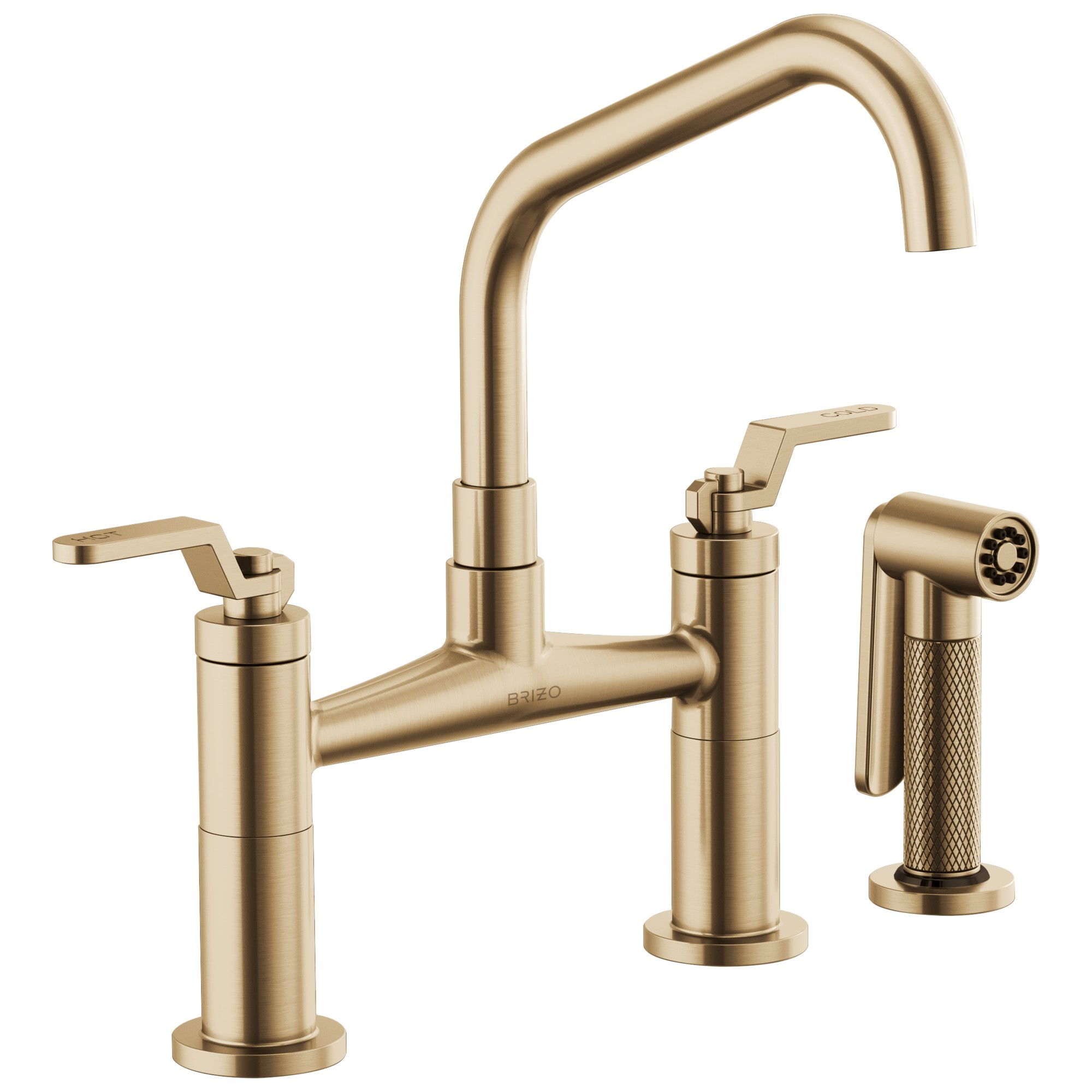 Brizo 62564LF-GL Litze Bridge Faucet with Angled Spout and Industrial Handle - Luxe Gold