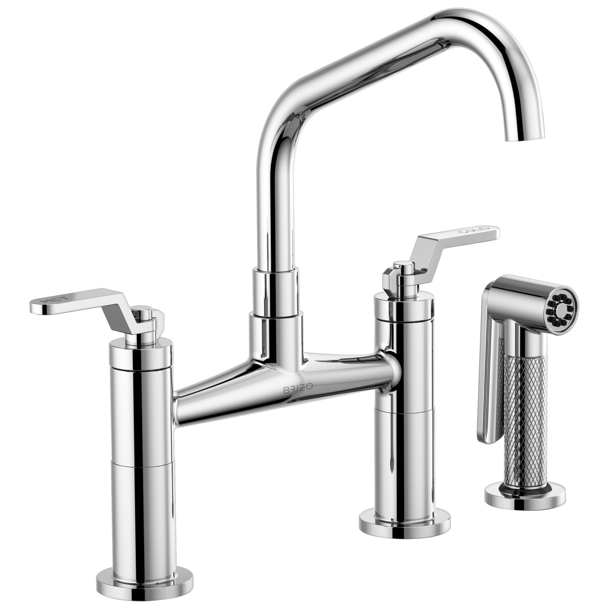 Brizo 62564LF-PC Litze Bridge Faucet with Angled Spout and Industrial Handle - Chrome