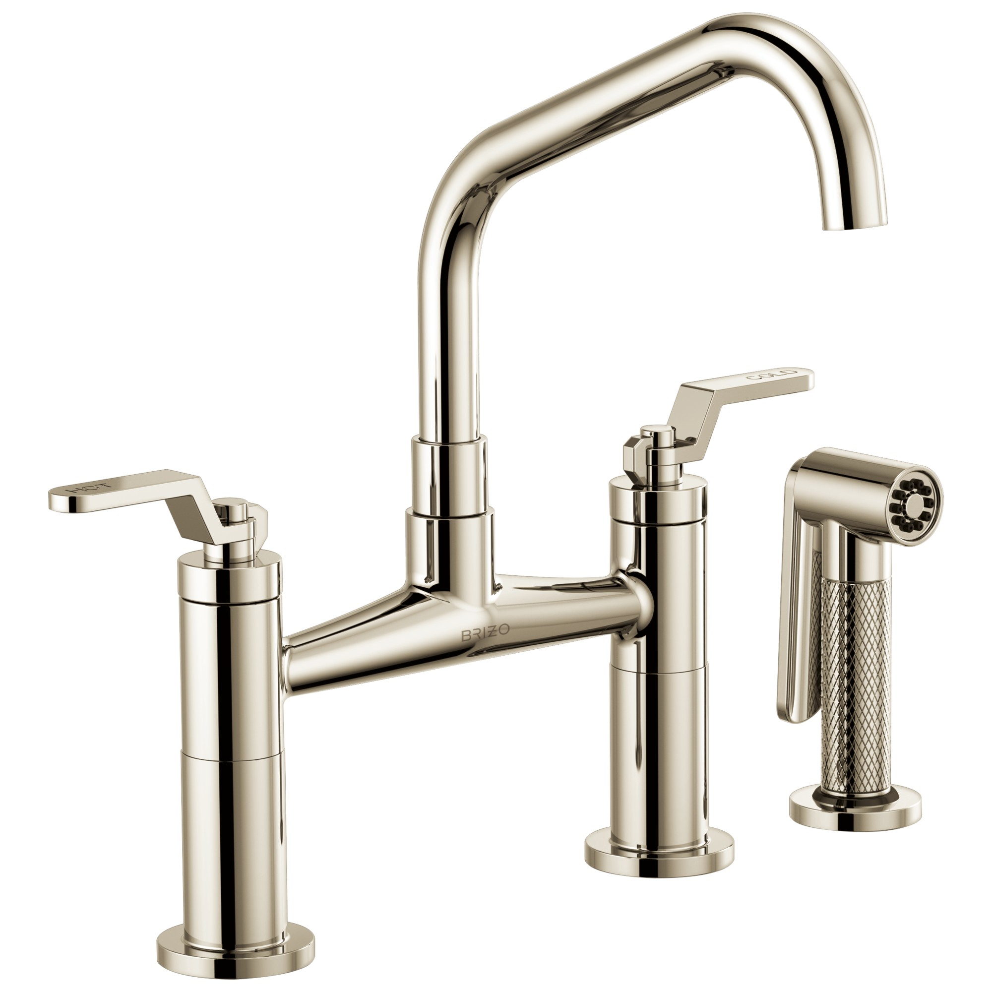 Brizo 62564LF-PN Litze Bridge Faucet with Angled Spout and Industrial Handle - Polished Nickel