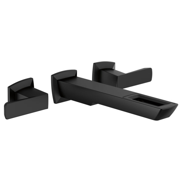 Brizo T65886LF-BL-ECO Vettis Two-Handle Wall Mount Lavatory Faucet with Open Flow Spout - Matte Black