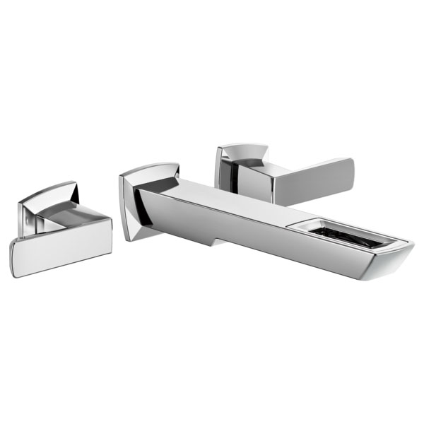 Brizo T65886LF-PC-ECO Vettis Two-Handle Wall Mount Lavatory Faucet with Open Flow Spout - Chrome