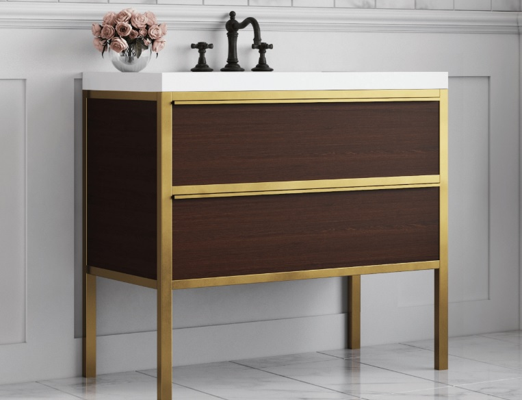 "Chameleon Concepts ELMT-36-WLNT Element 36"" Vanity - Walnut & Polished Brass"