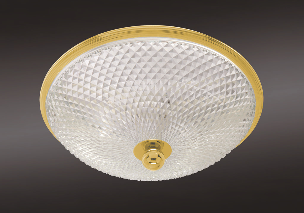 Cristal et Bronze 34204 Reeded Brass Ceiling Light Lead Crystal D Bowl