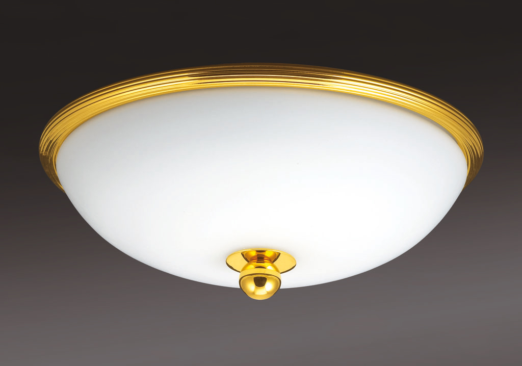 Cristal et Bronze 34205 Reeded Brass Ceiling Light Mat Opal Bowl