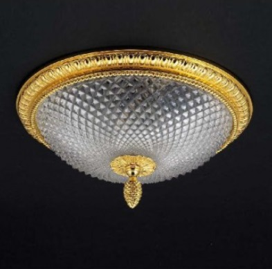 Cristal et Bronze 34252 Godron Bronze Ceiling Light Lead Crystal D Bowl