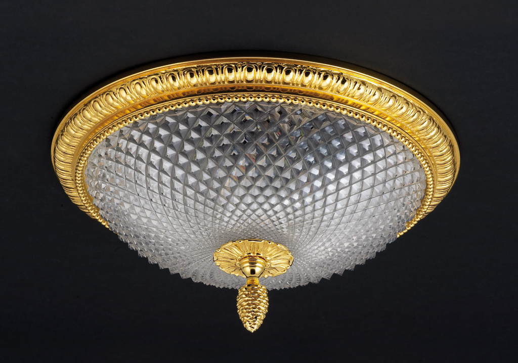 Cristal et Bronze 34254 Godron Bronze Ceiling Light Lead Crystal D Bowl