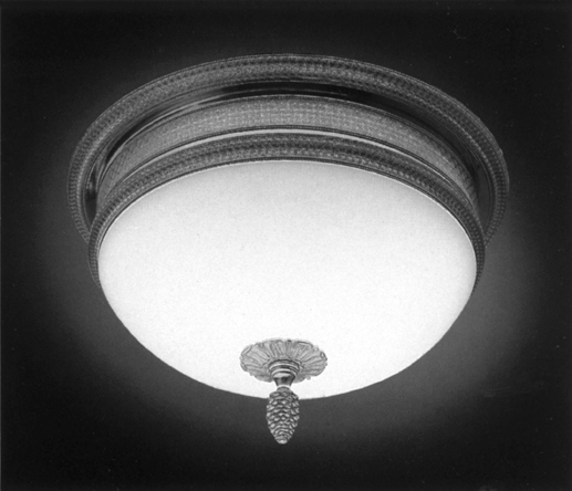 Cristal et Bronze 34301 Chiseled Bronze Ceiling Light Mat Opal Bowl