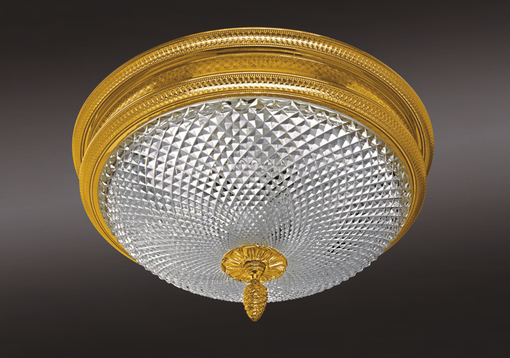 Cristal et Bronze 34302 Chiseled Bronze Ceiling Light Lead Crystal D Bowl