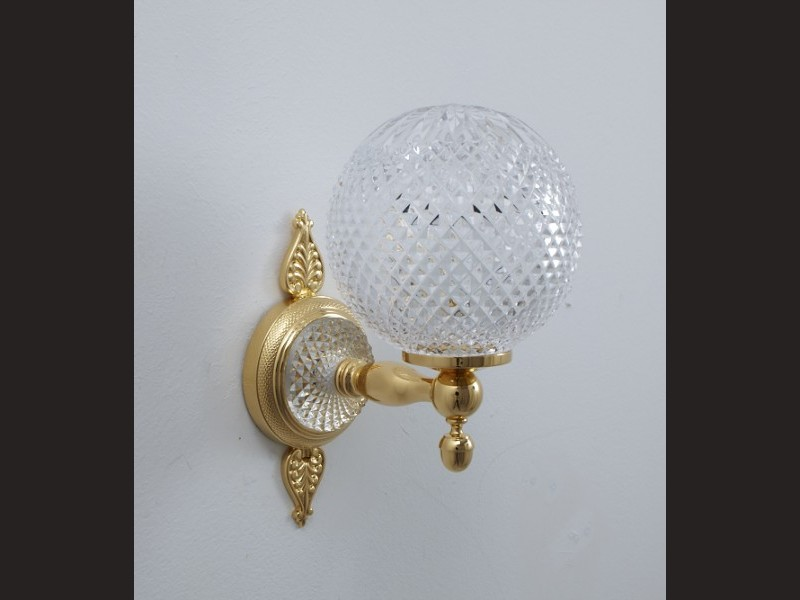 Cristal et Bronze 5440 Palmette Cristal Wall light One Closed Globe Crystal