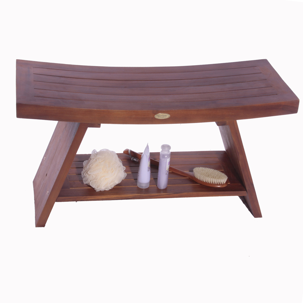 "Decoteak DT103 Serenity 35"" Eastern Style Teak Shower Bench with Shelf"