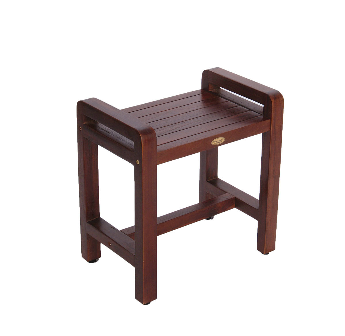 "Decoteak DT106 Classic 20"" Ergonomic Teak Shower Stool with Liftaid Arms and Shelf"