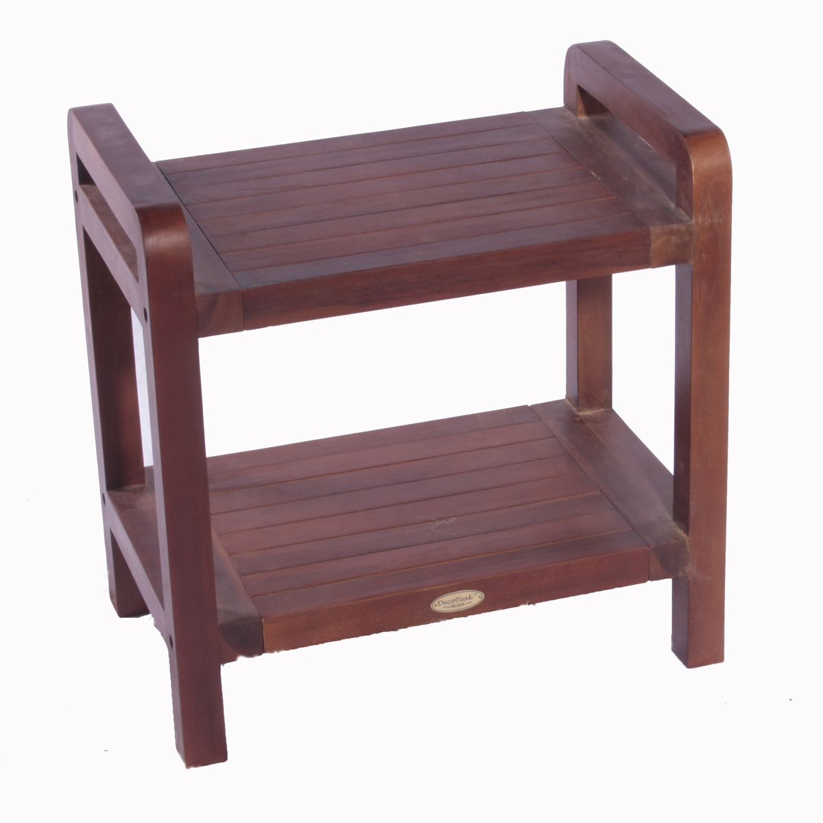 "Decoteak DT108 Classic 24"" Ergonomic Teak Shower Stool with Liftaid Arms and Shelf"