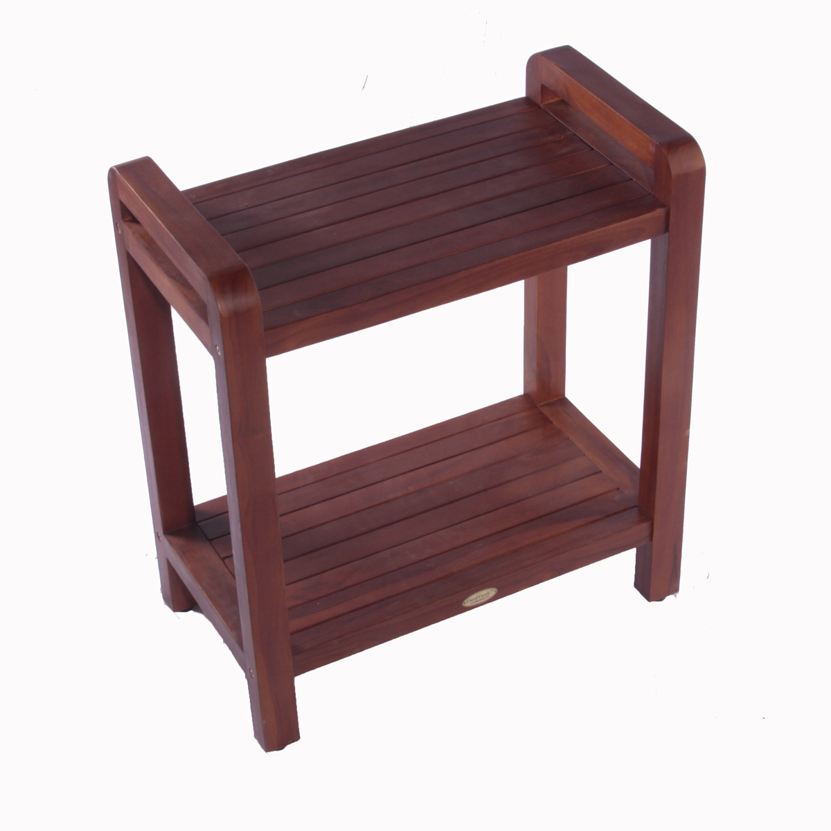 "Decoteak DT109 Classic 24"" Extended Height Ergonomic Teak Shower Stool with Liftaid Arms and Shelf"