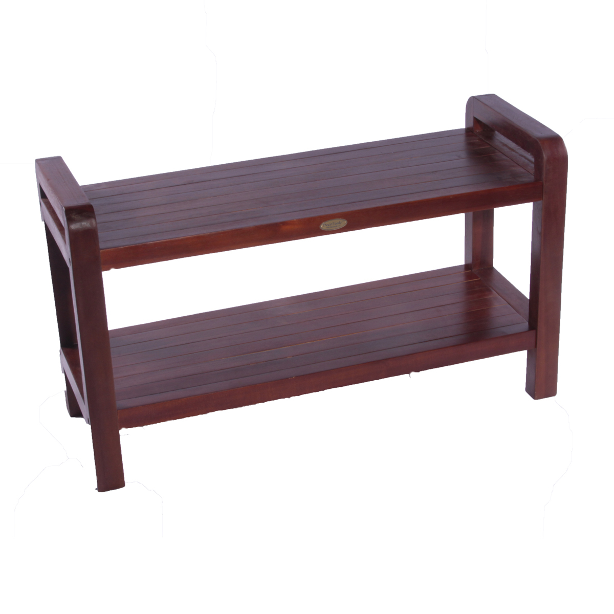 "Decoteak DT110 Classic 35"" Extended Length Ergonomic Teak Shower Stool with Liftaid Arms and Shelf"