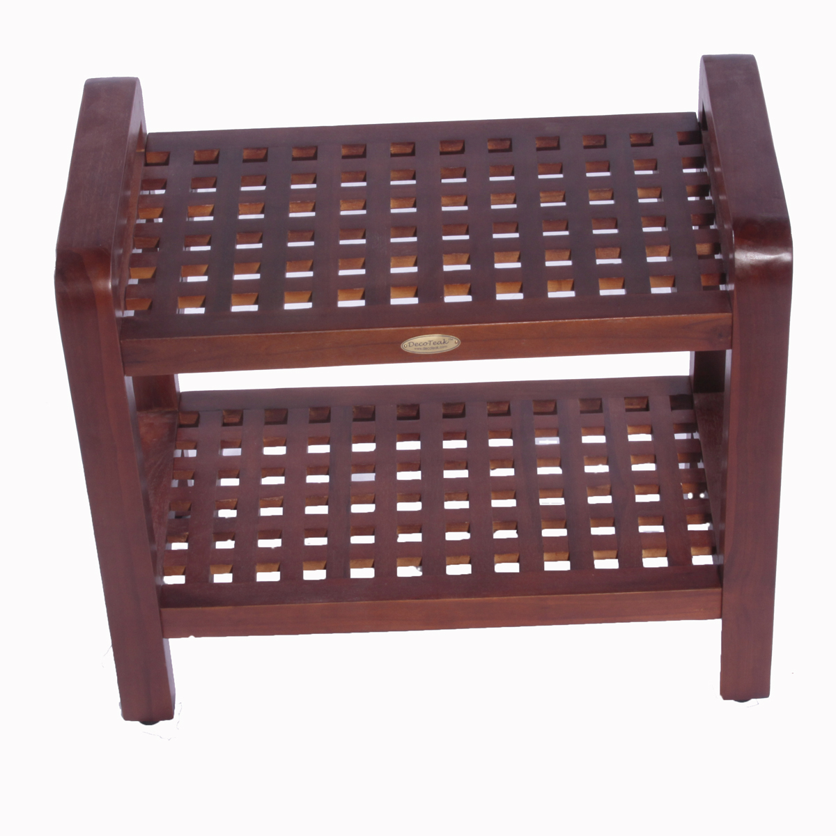 "Decoteak DT113 Espalier 24"" Teak Lattice Shower Bench with Shelf and Liftaide Arms"