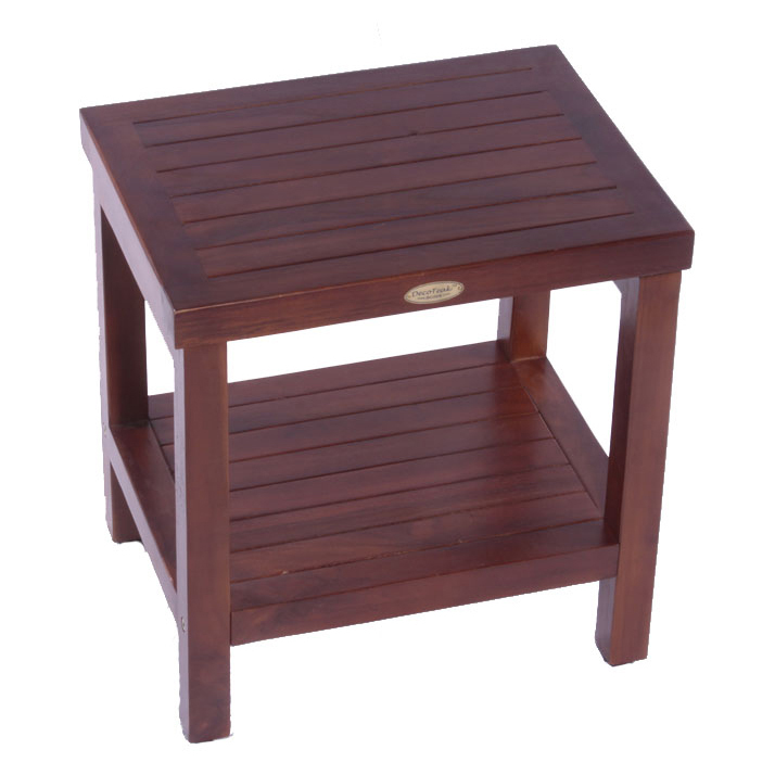 "Decoteak DT114 Classic 18"" Teak Shower Bench with Shelf"