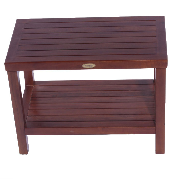 "Decoteak DT115 Classic 24"" Teak Shower Bench with Shelf"