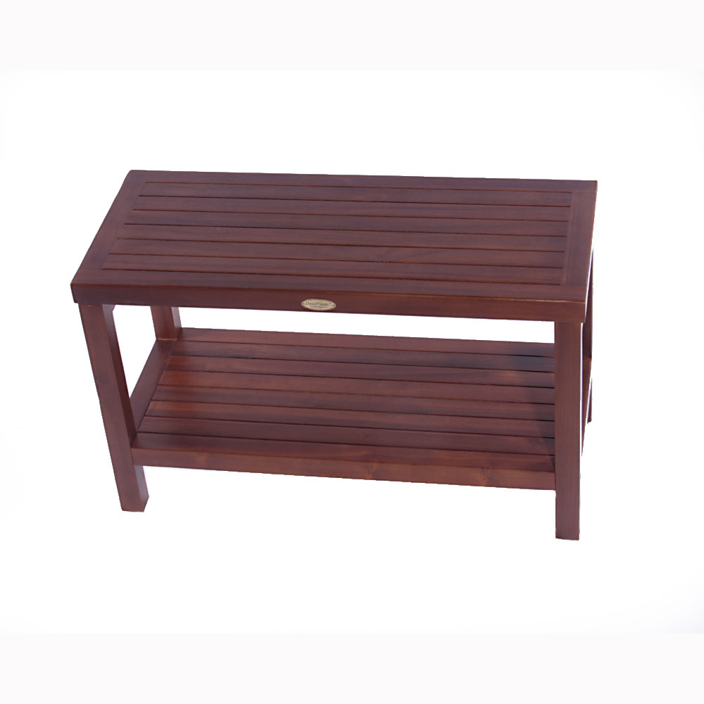 "Decoteak DT116 Classic 30"" Teak Shower Bench with Shelf"