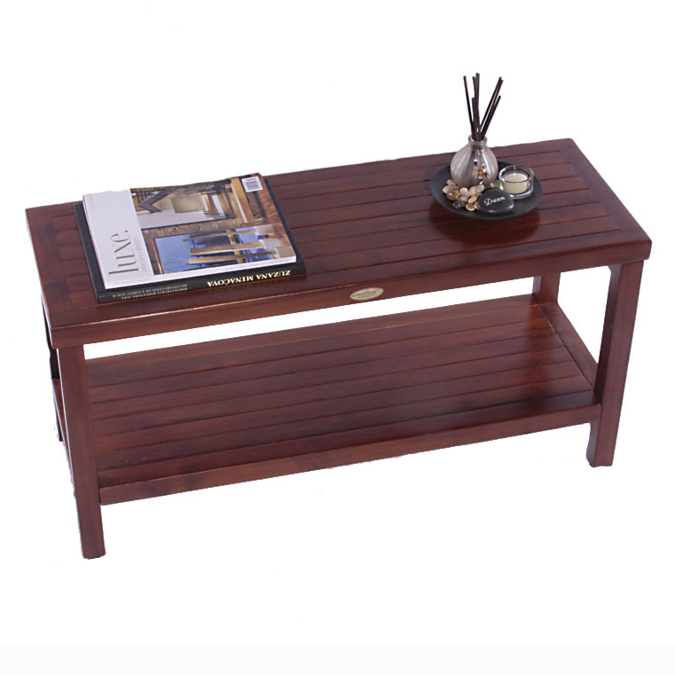 "Decoteak DT117 Classic 36"" Teak Shower Bench with Shelf"