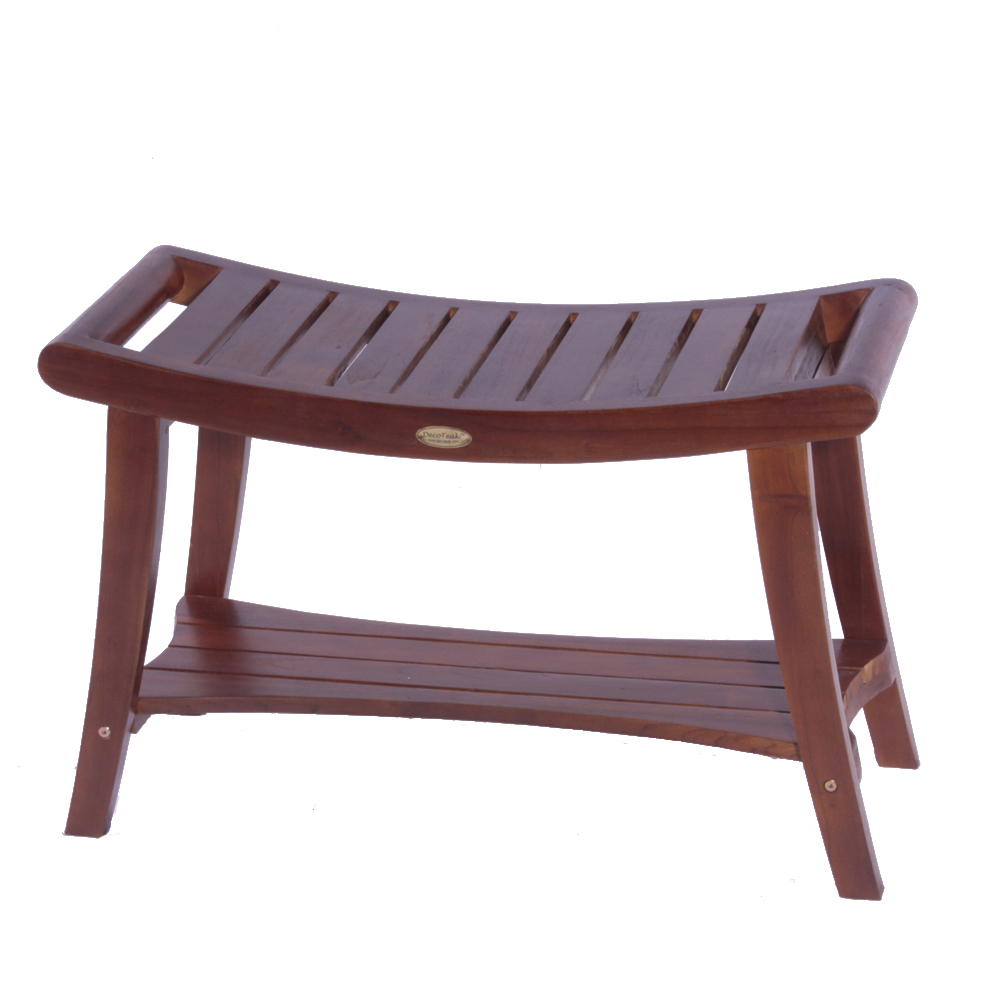 "Decoteak DT121 Harmony 30"" Teak Shower Bench with Shelf and Liftaide Arms"