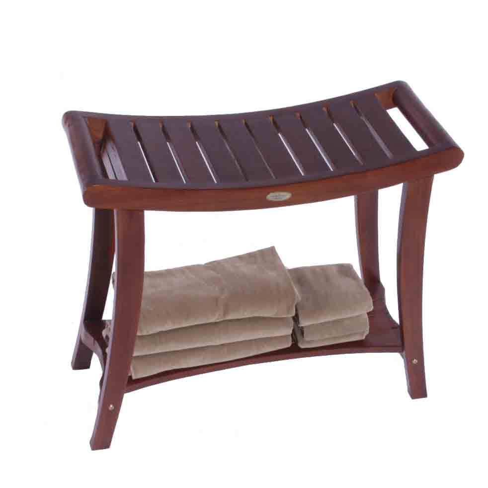 "Decoteak DT122 Harmony 30"" Extended Height Teak Shower Bench with Shelf and Liftaide Arms"