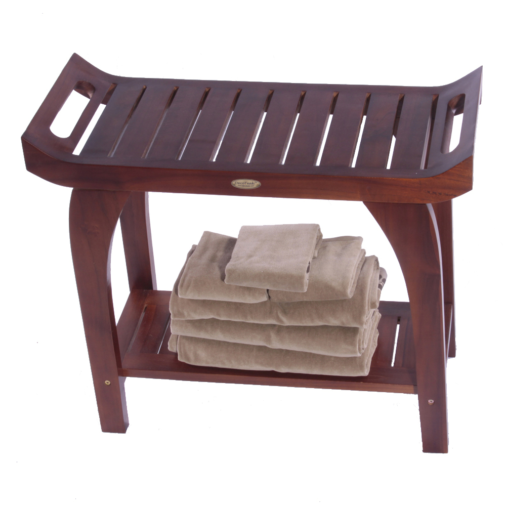 "Decoteak DT124 Tranquility 30"" Extended Height Teak Shower Bench with Shelf"