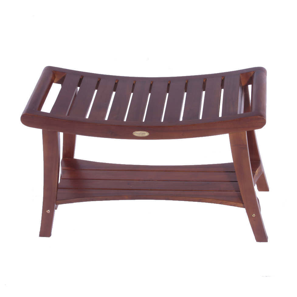 "Decoteak DT155 Harmony 24"" Teak Shower Bench with Shelf and Liftaide Arms"